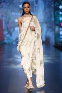 Ivory crepe palm print dhoti sari with halter neck blouse