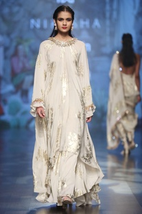 Ivory crepe bibi badal foil print tunic with pleated asymmtric skirt
