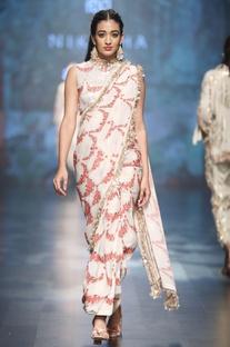 Ivory crepe & dupion scalp printed sari with blouse