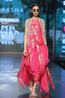 Magenta pure dupion & organza asymmetric blouse with printed cowl dhoti & embroidered jacket