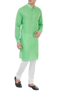 Green cotton check pattern kurta