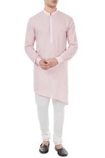 Pastel pink check pattern kurta