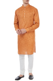 Orange cotton houndstooth pattern kurta
