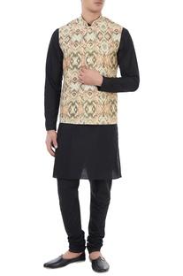 Beige ikat printed nehru jacket