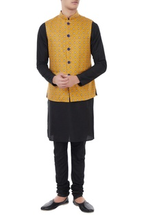 Mustard printed cotton nehru jacket