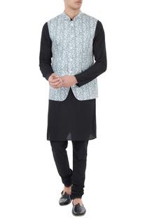 White & blue jaal printed nehru jacket