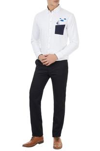 White cotton robot embroidered shirt