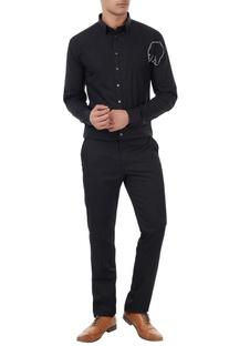 Black cotton bear cross stitch shirt
