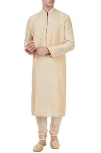 Gold silk thread work kurta with churidar