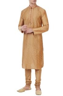 Fawn gold silk pin tuck kurta with churidar
