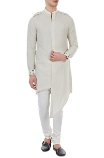 Beige linen button down asymmetric kurta