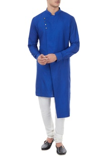 Royal blue spun silk kurta