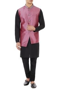 Maroon dupion silk bundi jacket