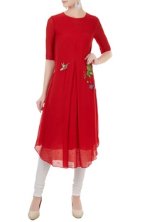 Red hand & machine embroidered kurta