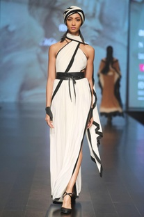 Black & off-white one shoulder sari gown