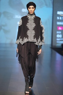 Black & offwhite cape blouse