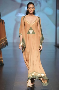 Caramel brown & olive flowy cape