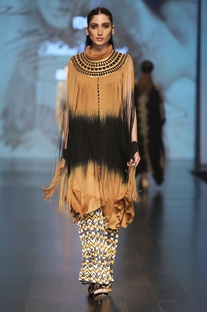 Mustard jersey yellow sleeveless fringe cape