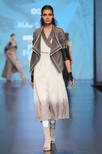White cotton silk wrap style dress