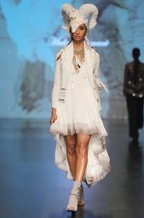 White cotton high-low dress