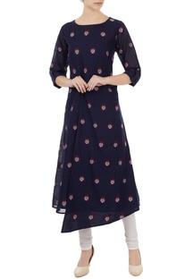 Navy blue cotton jamdani ladybug weave tunic