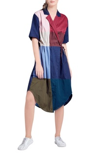 Multicolored panelled wrap style dress