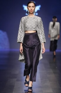 Eclipse blue high waist pants with crop top & grey jacket