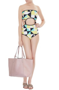 Yellow polyamide & lycra graphic print cut-out monokini