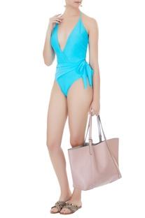Aqua blue polyamide & lycra drape halter neck monokini