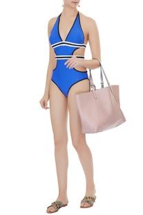 Blue polyamide & lycra color block monokini