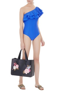 Blue polyamide & lycra frilled one-shoulder monokini