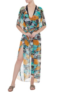 Multi Color georgette graphic print kaftan