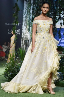 Pale yellow & ivory cascading ruffled gown