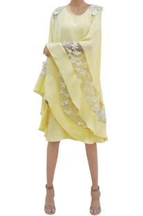 Yellow granular heavy crepe kaftan dress
