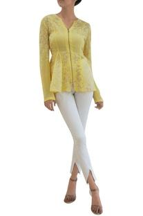Pale primrose sheer silk & georgette godet jacket