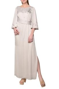 Pearl grey thai satin floral sequin dress