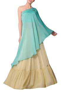 Aquamarine one shoulder blouse with flared skirt