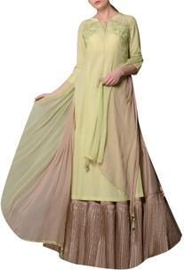 Green soyabean fabric kurta with silk skirt & chiffon tassel dupatta