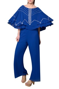 Royal blue viscose georgette jumpsuit