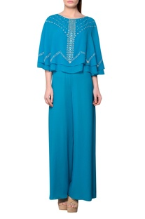Teal blue viscose georgette cape jumpsuit