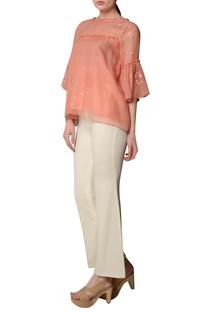 Peach ruffle sleeve kota blouse