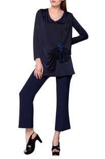 Navy blue jersey long sleeve blouse with embroidered brooch