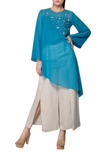 Blue embroidered asymmetric tunic with pants