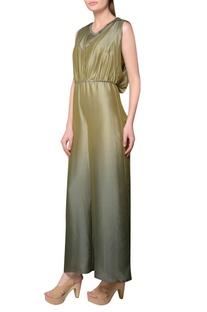 Ombre thai silk cowl neckline jumpsuit