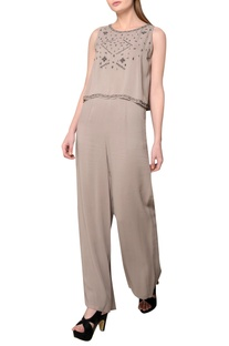 Grey embroidered georgette jumpsuit