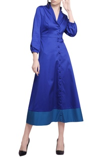 Electric blue & turquoise cotton satin coat style dress