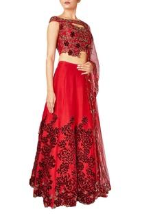 Red rose raw silk & net embroidered lehenga set