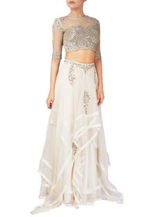 White organza & tussar silk lehenga & blouse