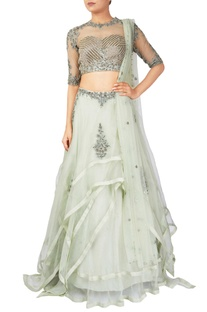 Green organza & tussar silk lehenga with net blouse