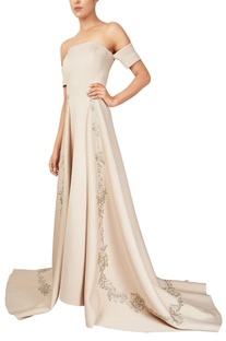 Beige scuba fabric off-shoulder gown with long trail